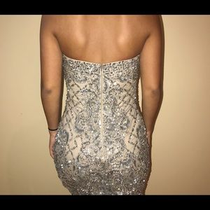 silver/ nude prom dress